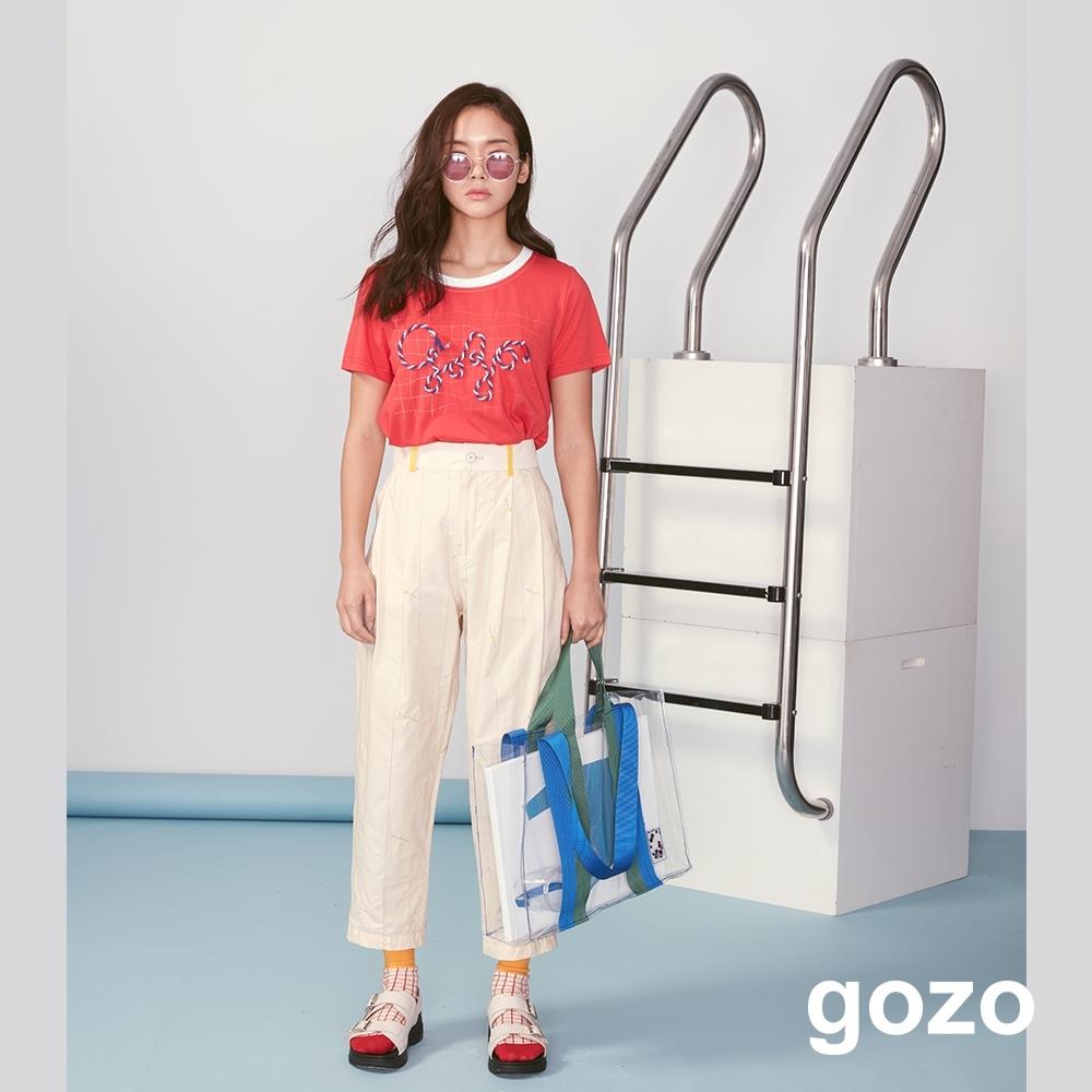 gozo 彩色立體編繩網格印花上衣(紅色)