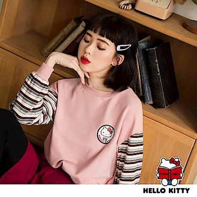 學院系列~KITTY徽章圓領拼接條紋假兩件長袖上衣-OB嚴選