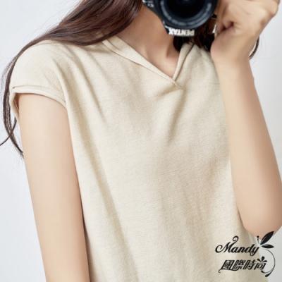 Mandy國際時尚 短袖上衣 韓系氣質V領寬鬆針織上衣(12色)
