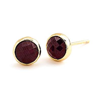 GORJANA 石榴石酒紅色玉石耳環 金色寶石耳環 Garnet Studs