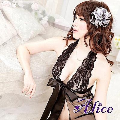 Alice蕾絲掛脖薄紗透明睡裙 蝴蝶結情趣睡衣(AK082)