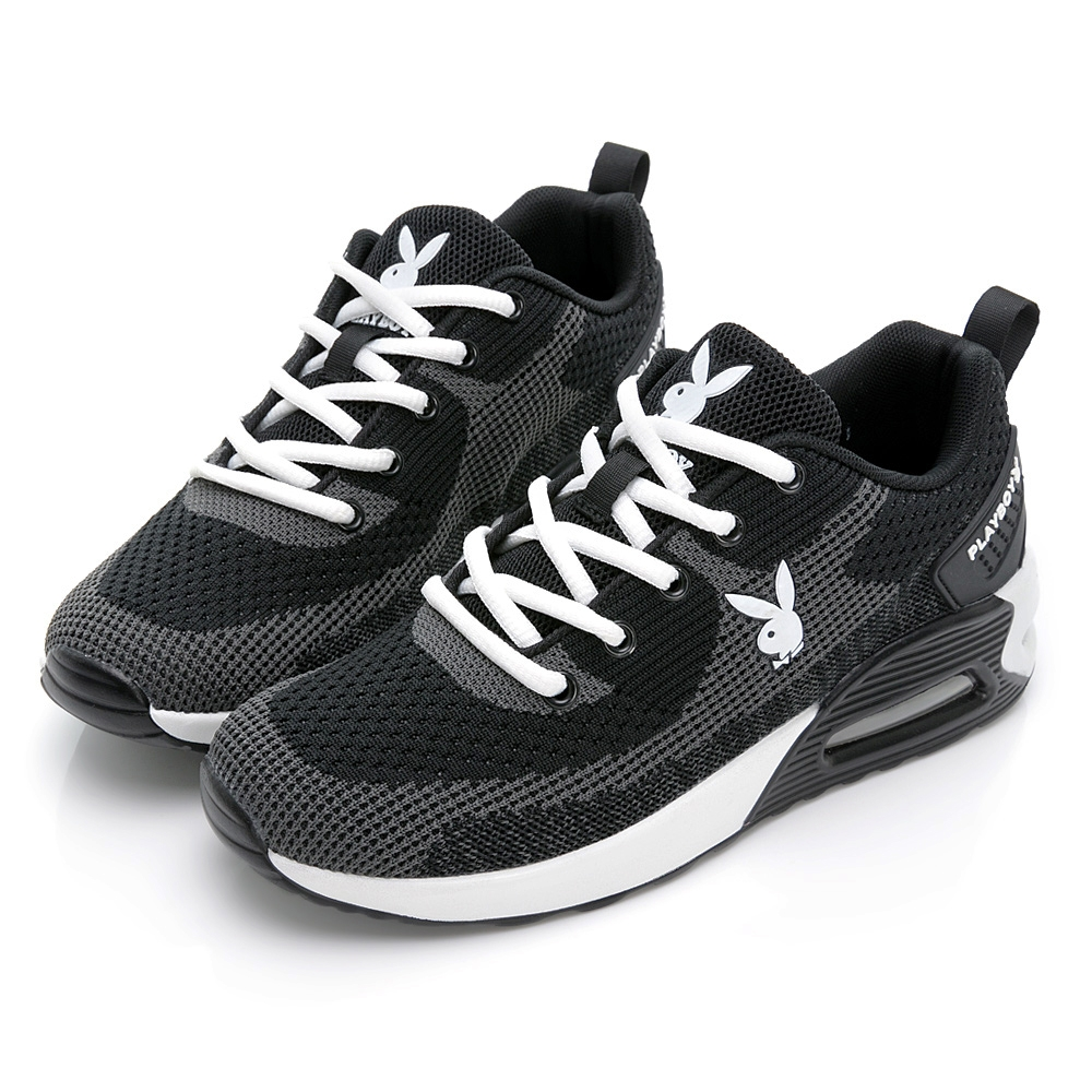 PLAYBOY 舒適進化 飛織抗震氣墊鞋-黑白-Y7252C1