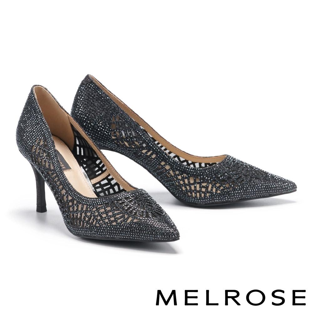 高跟鞋 MELROSE 奢華時尚幾何鏤空透膚水鑽尖頭高跟鞋-黑