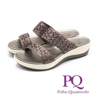 PQ 華麗閃耀 鏤空雕花厚底雙帶拖鞋 女鞋 - 古銅灰(另有玫瑰金)