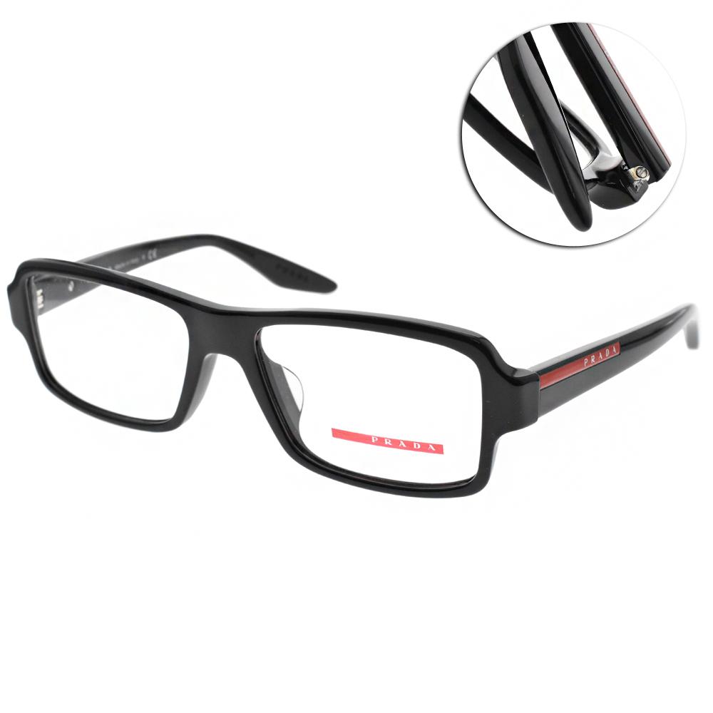 PRADA光學眼鏡 簡約粗框/亮黑 #VPS01GF 1AB1O1