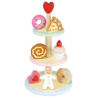 英國 Le Toy Van 角色扮演系列-夢幻三層下午茶糕點玩具組