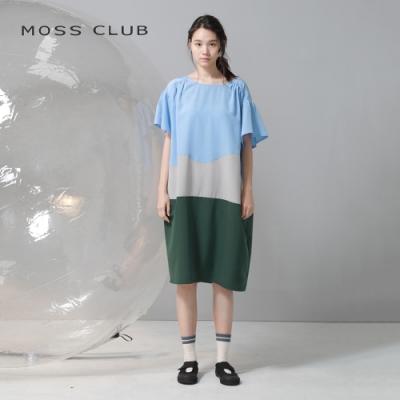 【MOSS CLUB】MIT台灣製撞色花袖設計長版-洋裝(藍色)