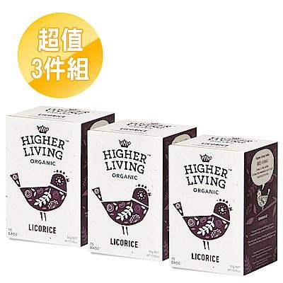 英國HIGHER LIVING 沁甜甘草有機茶包3件組(30gx3盒)