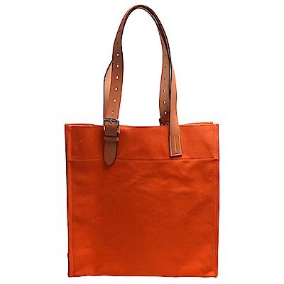 HERMES Etriviere系列厚質帆布小牛手提/肩背拖特包(橘)