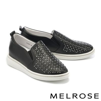 休閒鞋 MELROSE 率性沖孔晶鑽全真皮厚底休閒鞋-黑