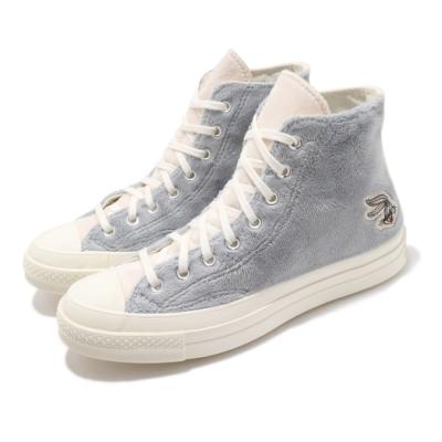 Converse 休閒鞋 All Star 高筒 穿搭 男女鞋 基本款 兔寶寶 聯名 毛料設計 情侶穿搭 灰 米 169222C