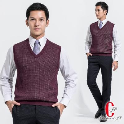 Christian 時尚細格紋V領毛衣背心_紫紅(VW502-65)