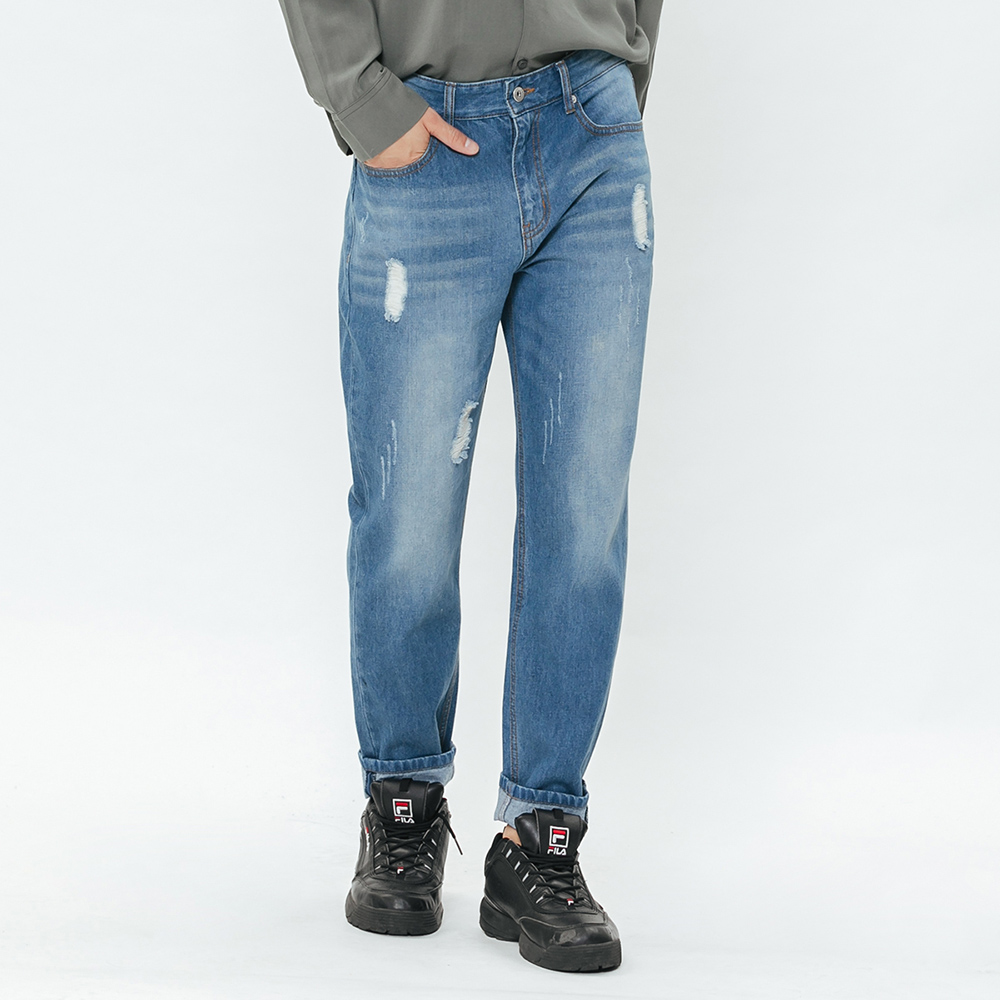 H:CONNECT 韓國品牌 男裝-磨破造型牛仔褲-藍