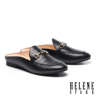 穆勒鞋 HELENE SPARK 時尚品味晶鑽馬銜釦低跟穆勒拖鞋-黑