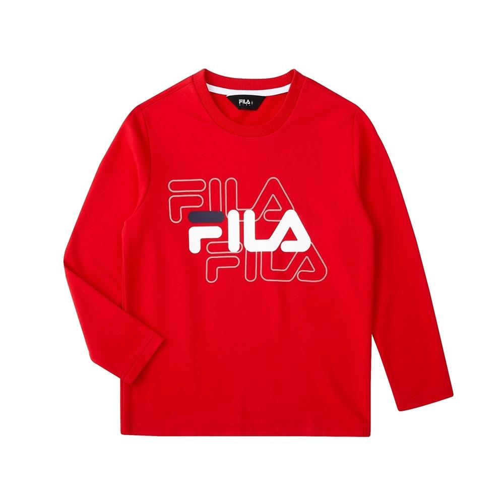 FILA KIDS 長袖圓領上衣-紅色 1TEU-8902-RD