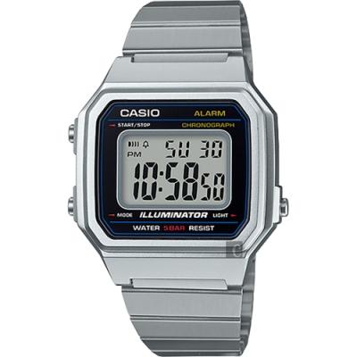 CASIO 卡西歐 復古文青大數字電子錶-銀(B650WD-1ADF)
