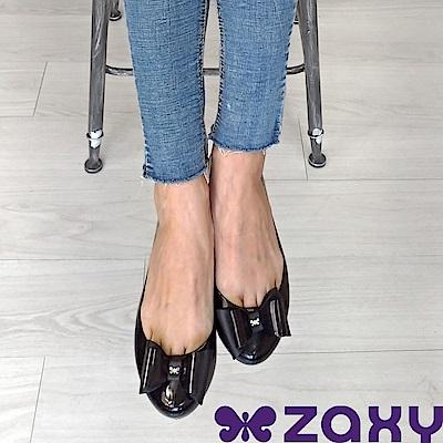Zaxy 巴西 女 POP BOW 法式蝴蝶結娃娃鞋(黑)