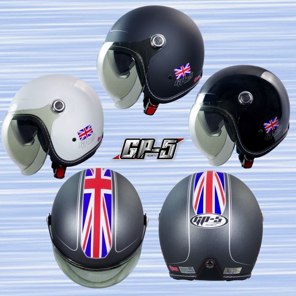【GP-5】雅典英國風 魚缸鏡+內墨鏡安全帽 泡泡鏡片 附內墨鏡 外銷日本式樣款 (晶亮黑)