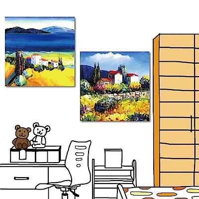 24mama掛畫 兩聯式方形 風景藝術無框畫-藍天童話40x40cm