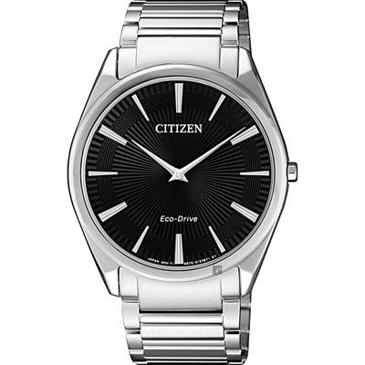 CITIZEN 星辰 Eco-Drive 紳士薄型手錶-黑x銀/38mm AR3071-87E