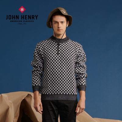 【JOHN HENRY】棋盤格紋長袖毛衣
