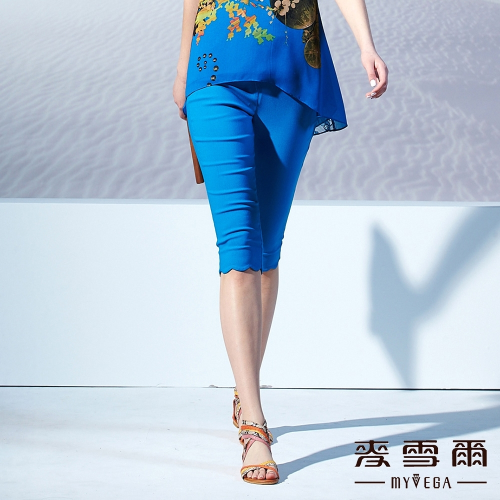 【麥雪爾】花邊素色五分褲-藍