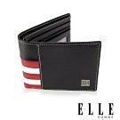 ELLE 法式紅白黑系列- 6卡窗格真皮短夾- 黑色