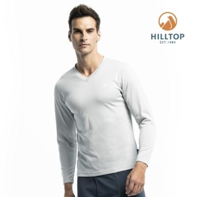 【hilltop山頂鳥】男款TORAY保暖吸濕快乾長袖衛生衣H56M80紺灰色