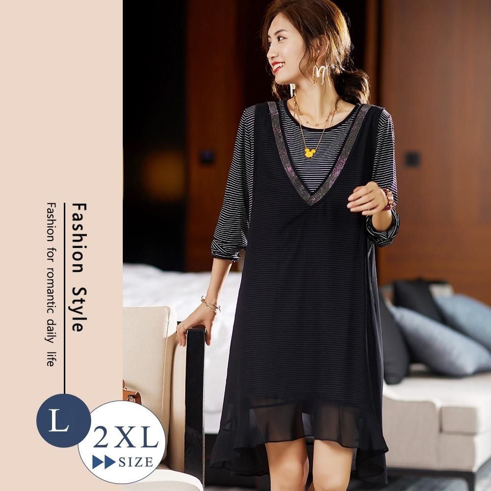 悠美學-韓系中大碼條紋拼接造型洋裝-黑色(L-2XL)
