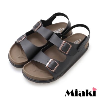 Miaki-涼鞋MIT仲夏穿搭皮質平底涼拖-黑