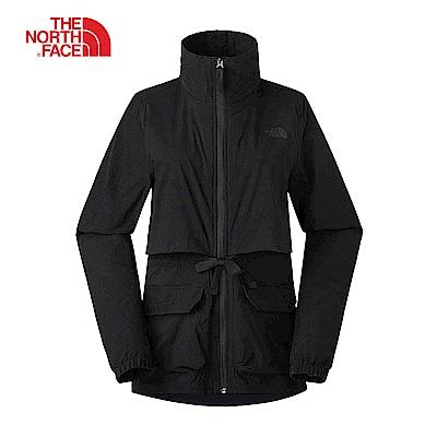 The North Face北面女款黑色防潑水可收納式高領衝鋒衣|3VQRJK3