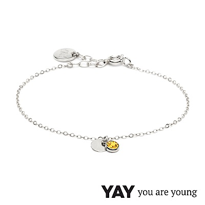 YAY You Are Young 法國品牌 Sultane 黃水晶手鍊 銀色