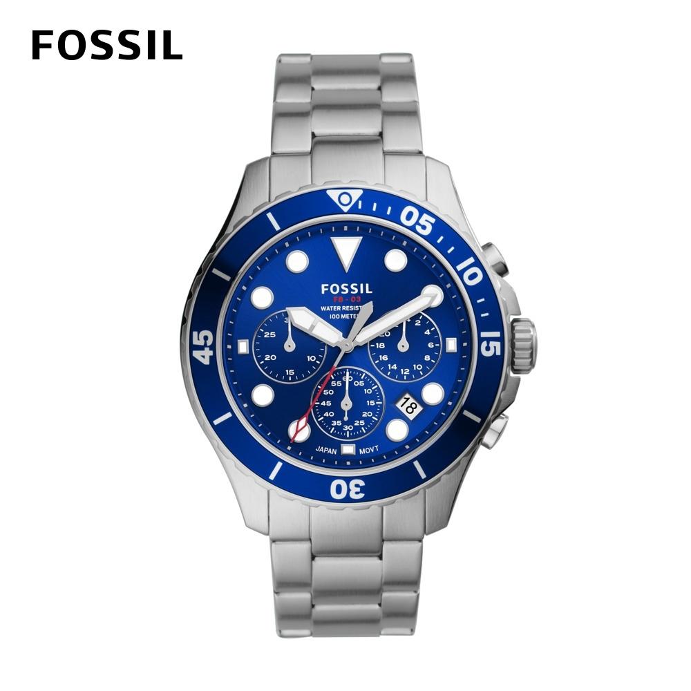 FOSSIL FB-03 三眼計時手錶 銀色不鏽鋼錶帶46MM FS5724