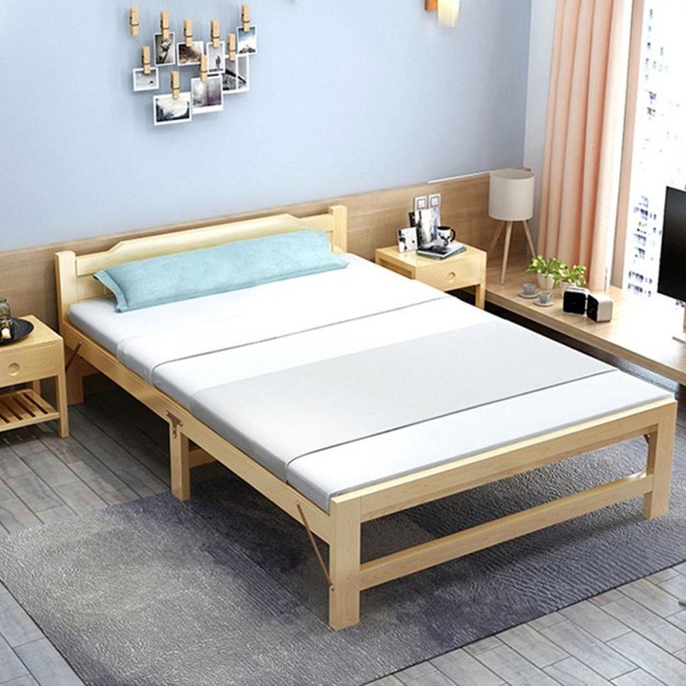 【Incare】天然實木穩固高腳折疊床(195*90CM)