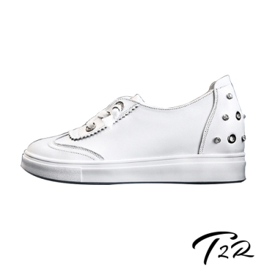 T2R-正韓空運-腳跟鉚釘造型-真皮帆布鞋小白鞋隱形增高鞋-增高6公分-白