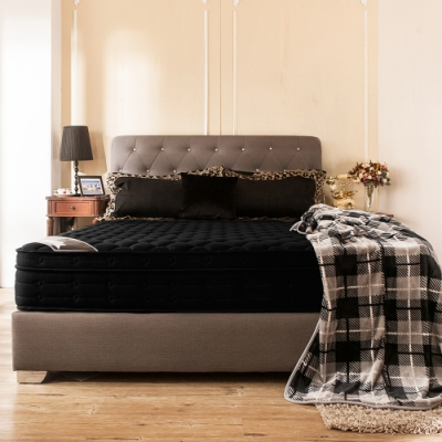 obis Louise鑽黑三線乳膠雙人加大6尺九段式獨立筒無毒床墊(25cm)