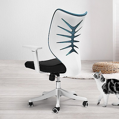 【STYLE 格調】人體工學護肩椎腰椎魚骨簍空設計款電腦椅/辦公椅 (藍色)