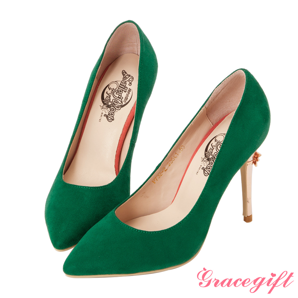 Grace gift-美少女戰士變身器細絨高跟鞋 綠