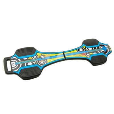 韓國LANDWAY 發光輪活力蛇板 蛇行滑板 BL 藍黃(贈背帶)