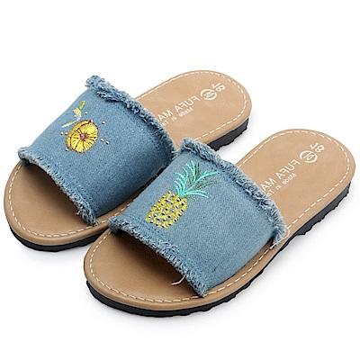BuyGlasses 夏日水果圖案不修邊兒童拖鞋-藍
