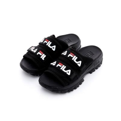 FILA 女拖鞋-黑 5-S630T-014