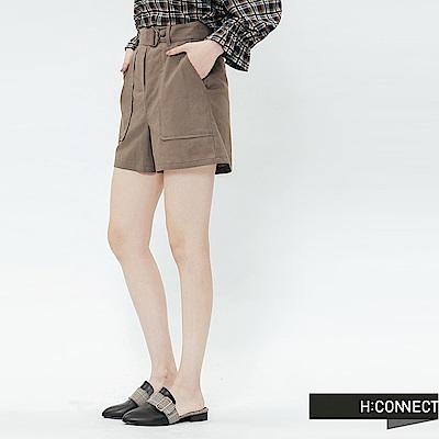 H:CONNECT 韓國品牌 女裝-休閒腰帶棉麻短褲-綠