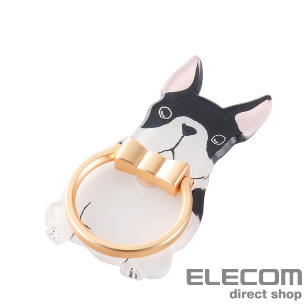 ELECOM 造型手機指環立架-鬥牛犬