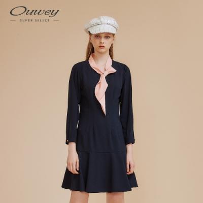 OUWEY歐薇 配色領結微展洋裝(藍)