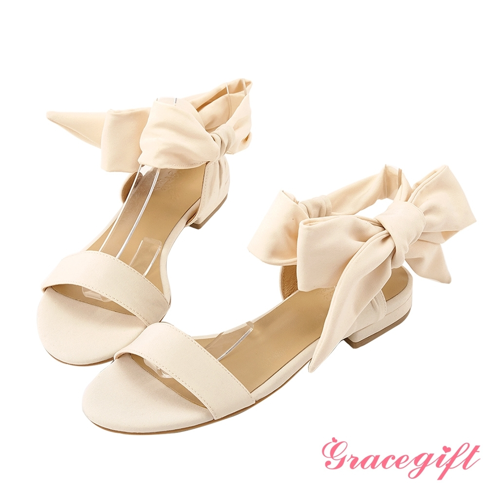 Grace gift X Tammy-聯名一字浪漫綁帶平底涼鞋 米白