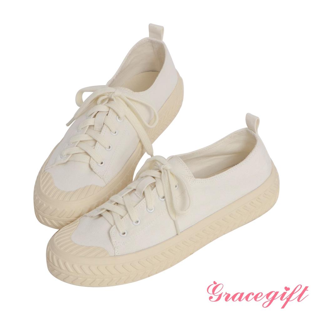Grace gift-素面帆布休閒餅乾鞋 白