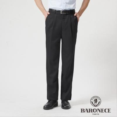BARONECE 百諾禮士休閒商務  男裝 功能性冰咖啡紗打褶西裝褲--黑色(1188864-99)