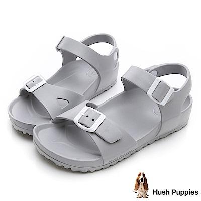 Hush Puppies 巴吉度輕量休閒繫帶涼鞋-淺灰