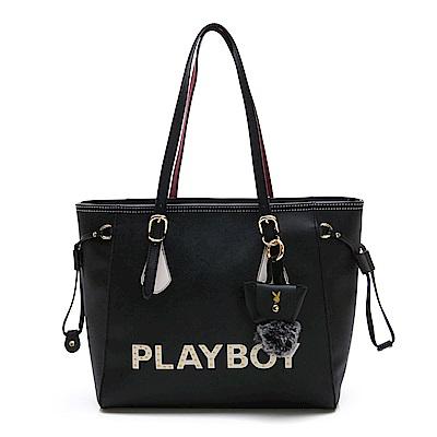 PLAYBOY- 托特包 摩登街頭系列-黑色