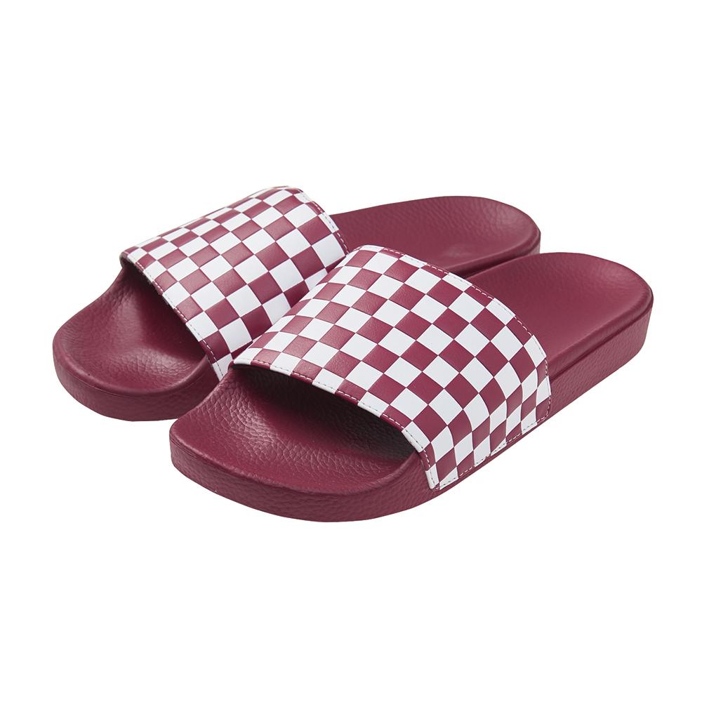 (男)VANS Slide-On 棋盤格休閒拖鞋*紅色